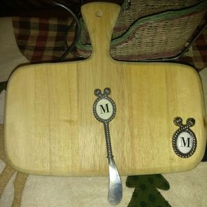 """Mud Pie Wooden Cutting Board W/Knife """"M"""""""